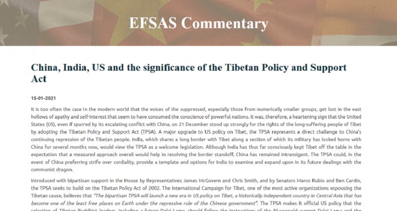European think tank praises Tibetan Policy and Support Act