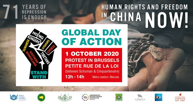 Enough is Enough, Human Rights and Freedom in China Now! – Joint Protest on 1 October in Brussels