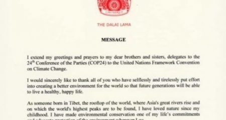 Dalai Lama's message to global climate summit shows need for urgent action in Tibet