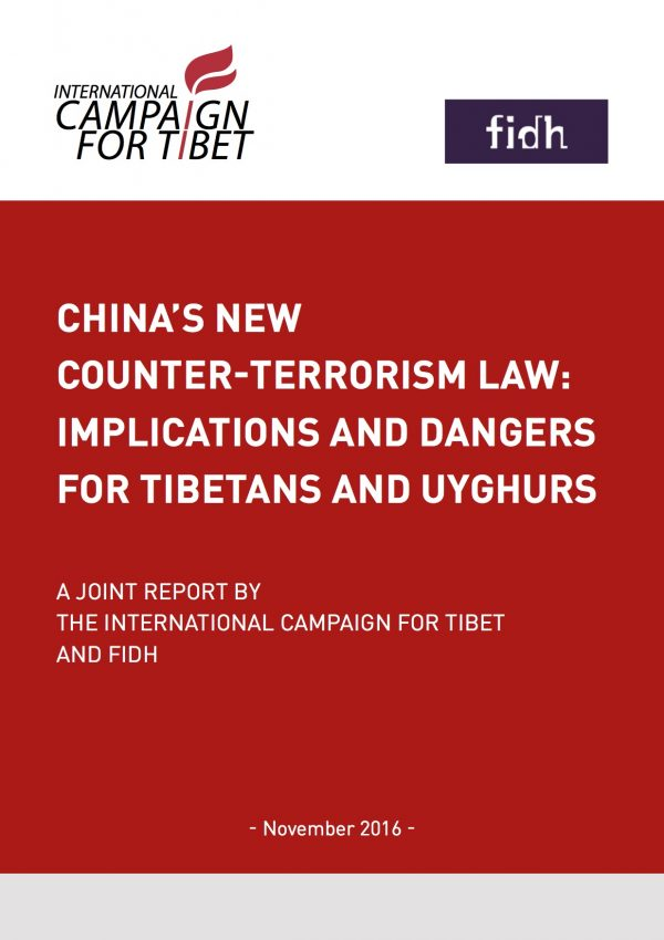 New ICT-FIDH Report: Dangers of China's counter-terrorism law for Tibetans and Uyghurs